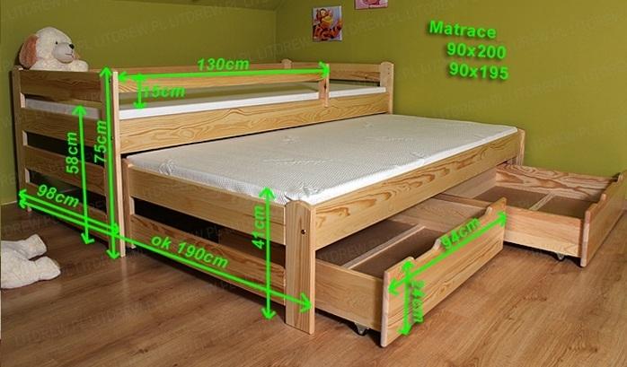 1699f74847b3 Borovicová posteľ s výsuvným lôžkom LTD Doblo 200x90